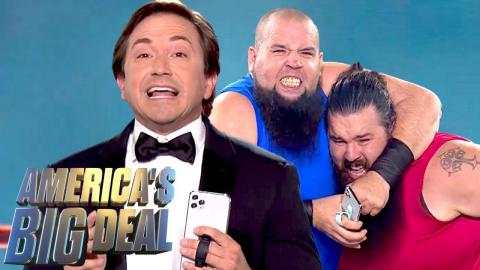 Can This Phone Grip Withstand Two Wrestlers?! | America's Big Deal (S1 E1) | USA Network